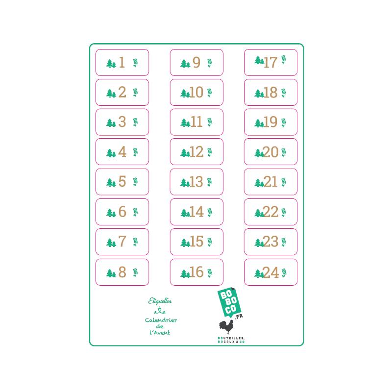 La planche Calendrier de l'Avent - 24 étiquettes