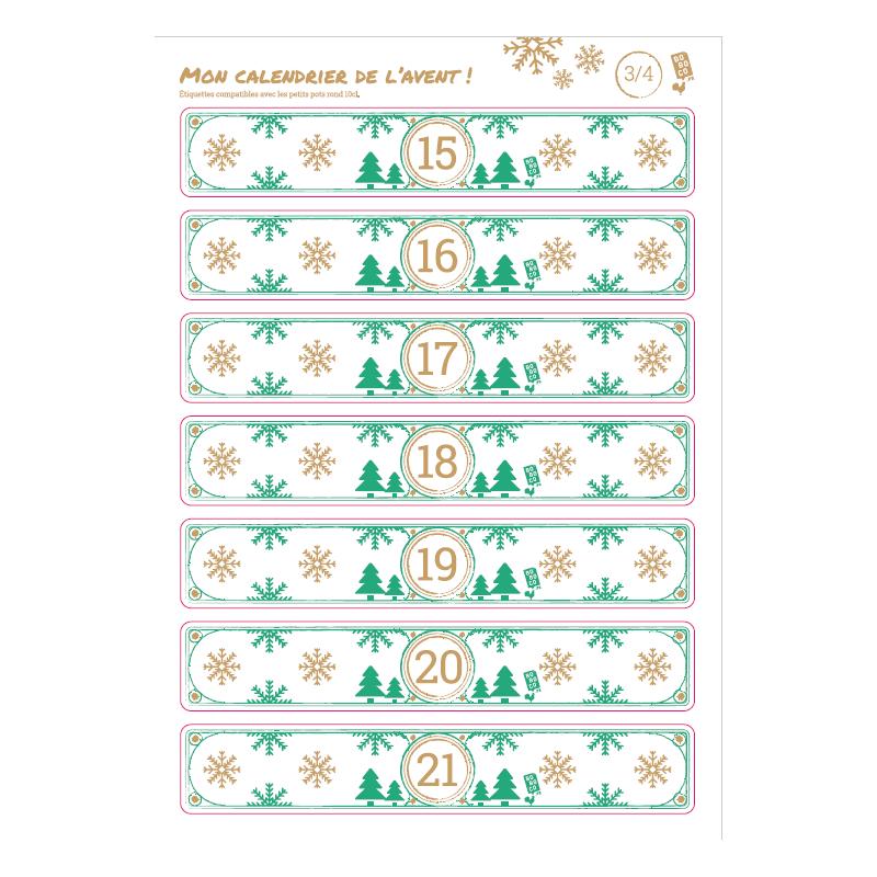 Calendrier de l'avent - 4 planches de 25 grandes étiquettes