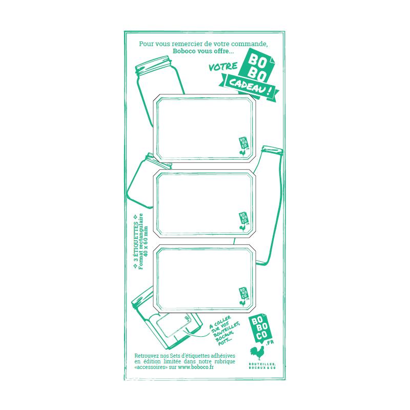 Set de 3 étiquettes autocollantes Boboco